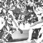 Former Alabama defensive back Tommy Wilcox against Mississippi State in the early 1980's. Wilcox was a two-time All-American selection in 1981 and 1982. / Bryant Museum
