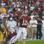 Quarterback Greg McElroy directs the offense against LSU's defense in last year's win over the Tigers. This year, LSU's defense is No. 1 in the SEC, and it'll be a big test for Alabama's offense. / CW | Katie Bennett