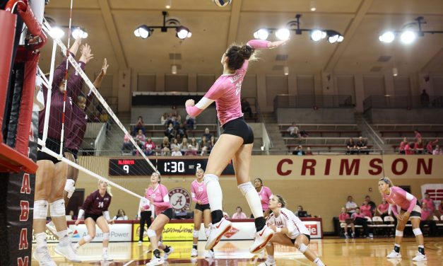 Power of Pink: Tide Volleyball Wins in Straight Sets